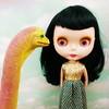 frances (endangeredsissy) Tags: cute dinosaur handmade kitsch kawaii blythe etsy goldie allgoldinone bigeye blythedoll bl dollclothes neoblythe blytheclothes endangeredsissy