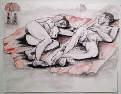 Naturists (Colin Clarke~) Tags: life beach naked nude drawing sketching sunbather malenude lifedrawing femalenude naturists colinjclarke