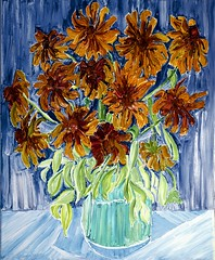She Picked The Rudbeckia For My Birthday (bill_giddings) Tags: original modernfineart stilllifepaintingofflowersinavase oilpaintingoncanvas paintedinfrontofthemotive nopreliminarydrawing impressioniststyle flowers rudbeckia colour brown yellow green blue lightandshade illumination perspective nearandfar contemporary nikon