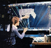 Harrison Ellenshaw working on a matte painting from the Death Star power shaft (Tom Simpson) Tags: starwars vintage behindthescenes mattepainting illustration art anewhope 1977 1970s