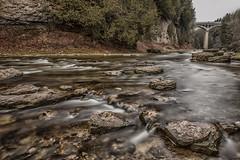 Elora Gorge, Ontario (angie_1964) Tags: elora gorge ontario canada bridge grandriver longexposure trees evergreen nikond800e nature landscape
