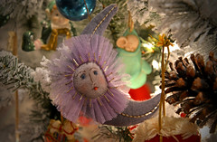 How Pale Is the Moon (BKHagar *Kim*) Tags: bkhagar moon ornament fabric felt purple pale christmasornament christmastree lights tribute johnglenn astronaut american