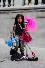 Three of them (A-Drycha) Tags: ooak ooakdoll mattel gybrid custom customdoll monster high monsterhigh monsterhighooak one kind repaint repaindoll guitar bcrich rich bass longhair longhaired man metalhead metal jeans ever after hunter ghoulia moscow