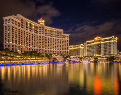 Bellagio and Caesars Palace (AkshayDeshpande) Tags: bellagio ceasers palace las vegas nevada usa long exposure reflection lights canon t3i rebel wide angle 10 mm