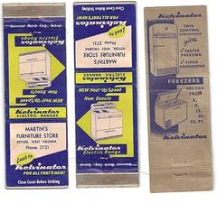 Kelvinator (neshachan) Tags: wv keyserwv keyser kelvinator refrigerator martinsfurniturestore matchcover matchbook