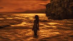 Mondragone (PokemonaDeChroma) Tags: woman sea beach cliff rock waves water sunset serene silhouette me self pokemonadechroma mondragone italy standing horizon golden tones 169 femme mer plage falaise roche vagues eau le coucher du soleil serein moi soi italie permanent dor tons