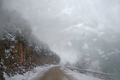 Dangerous ! (gtsimis) Tags: snow road car fog humidity cliff stiff trees pentaxk1 ricohimaging oblos achaia greece patras winter white travel driving mountain explore downhill