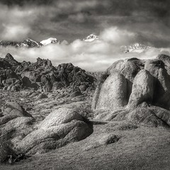 Alabama Hills and clearing storm over the Eastern Sierra's (M. Cockrell) Tags: iphone alabamahills ca lonepine bw blackandwhite monochrome landscape california sierra sierranevada