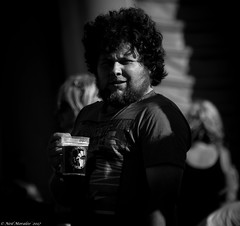 Natural Habitat. (Neil. Moralee) Tags: blackdownbeerfestivalhemyockneilmoralee neilmoralee man face portrait beer drink drinking festival music welchy shadow shaddow shadows dark people sunlight shade neil moralee d7100 nikon 18300mm zoom telephoto glass mug pint cider lager black white bandw blackandwhite mono monochrome blackdown hills taunton devon somerset border happy hair farmer candid