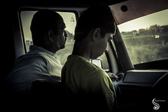 In the midst of journey (Shikher Singh) Tags: travel father son evening sunset car vehicle shadow guys pondering thoughtful shikhersimagery