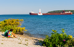 DSC_5022 (pdrap) Tags: lighthouse beach boat michigan pebbles greatlakes shrubs mackinacisland shrubbery laker freighter ironore roundisland