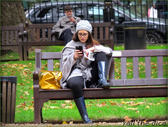 `1541 (roll the dice) Tags: uk autumn portrait england people urban blur cold sexy london art classic girl westminster hat fashion mobile cheese scarf canon shopping bench lunch glasses funny sad phone natural legs boots candid fingers streetphotography rude talk polish ham stranger sandwich bin unknown brunette mad w1 westend pvc unaware londonist