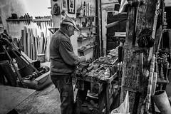 Work:Shop (BazM:Photog.......:-)) Tags: wood bw woodwork blackwhite spain timber traditional manatwork espana toledo workshop woodworking chisels lathe bazmatthews