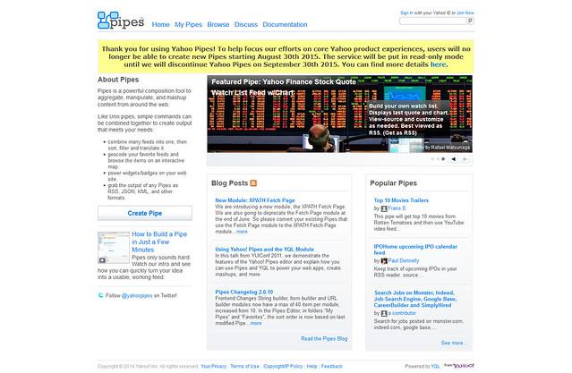 Yahoo! Pipesがサービス提供終了