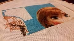 Frozen Cross Stitch Progress, Anna's Head, Blue Background and start of Kristoff (diedintragedy) Tags: art frozen crossstitch sewing crafts fabric cotton stitching aida tapestry
