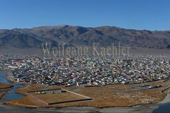 30095425 (wolfgangkaehler) Tags: city monument asian colorful asia hill aerialview mongolia centralasia aerialphotography aerials mongolian colorfulhouses aerialphotos viewofcity ulgii westernmongolia lgii bayanulgiiprovince monumenttothe75thanniversary