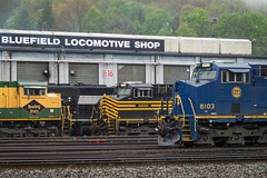 Three Heritage Units at Bluefield (Nolan Majcher) Tags: road west heritage electric reading virginia general ns norfolk engine plate southern wv western nickel locomotive division ge 8100 unit 1067 emd bluefield electromotive sd70ace es44ac ns8103