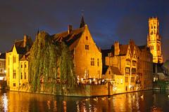 Bruges (John Ibbotson (catching up!)) Tags: building night canal belgium brugge scene belfry bruges