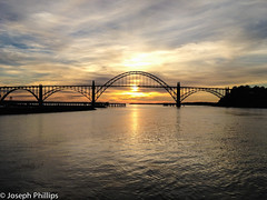 Oregon Sunset (breakfast_pizzas) Tags: bridge sunset oregon river bay newport oregoncoast yaquina yaquinabay yaquinariver