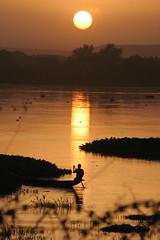Le pcheur au coucher de soleil sur le Niger 1 (Pi-F) Tags: voyage niger soleil reflet r pecheur couleur couchant barque courant fleuve afrique rive niamey