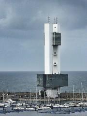 Maritime Port Control Tower, La Corunya, Spain. (ManOfYorkshire) Tags: sea white tower glass port marina concrete spain construction traffic control harbour galicia yachts acoruna lacorunya entranbce
