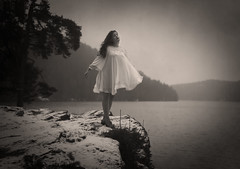 On The Other Edge (Maren Klemp) Tags: ocean blackandwhite cliff lake painterly nature water monochrome sepia outdoors fineart edge dreamy symbolic fineartphotography darkart whitedress evocative femalephotographer expressivephotography fineartphotographer darkartphotography femaleartwork