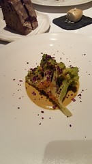 Romanesco broccoli, smoked shellfish sauce and seaweed.