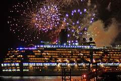 Arcadia departs during Firework display (clare.blandford) Tags: arcadia hythe pier southamptonwater cruise liner