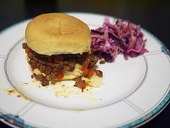 Sloppy Joes w Cole Slaw (PlaysWithFood) Tags: sloppyjoe dinner butcherspantry coleslaw