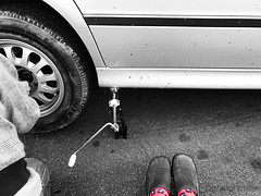 Flat Tire (MacroMarcie) Tags: selectivecolor 365 project365 self selfie shoes socks tire flat hubby car jack