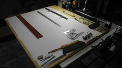 All You Need To Design Bicycles (Shu-Sin) Tags: jamie swan drafting table drawing bicycle frame design velo shop tsquare protractor technical pencil lugs bb bottom bracket long island vernier scale dial gauge ruler calculator sharpie shims