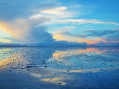 Salar de Uyumi (SqueakyMarmot) Tags: travel sunset sky reflection southamerica clouds dusk horizon scenic bolivia saltflats flooded 2015 salardeuyumi
