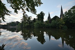 Lichfield Cathedral (clairejmyhill) Tags: sunset night reflections canal nikon cathedral spire d750 stafford lichfield 1424mm