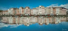 Bayonne. (Jérôme Cousin) Tags: street city blue houses sky house buildings nikon exposure maisons 14 double 64 bleu exposition ciel mm maison ville bayonne bab immeubles 14mm samyang d700