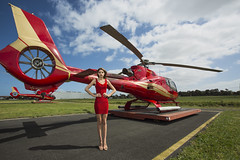 Microflite Fashion shoot_7-10-15_ (2) (Andrewhg photo) Tags: photography fashion model red aviation helicopter microflite ec130 b4t2 b4 t2 moorabbin airport melbourne rmit dress eurocopter airbus helicopters ec 130 gold 5d mark iii canon 1740mm 17 40 mm airside taxi way taxiway air side blue sky clouds highclass high class australia oceania victoria aircraft rotor rotary wing tail skids blade