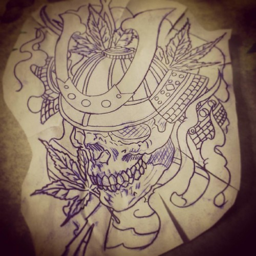 Started a #samurai #skull #tattoo  today. I really like to do pieces like this!!