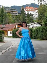 Beautiful in blue (Paula Satijn) Tags: blue sexy girl smile lady outside happy austria shiny dress silk skirt tgirl transvestite chic gown satin gurl classy elegance ballgown kitzbhel