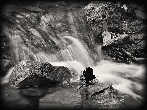 rver place trail waterfall 2 b&w