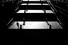 (ajhenriques) Tags: bw black white digital street minimal abstract light shadows human people silhouete lisbon lisboa contrast city walking blackandwhite monochrome portugal nikon d200 sun stairs textures walls background minimalism lines man boy