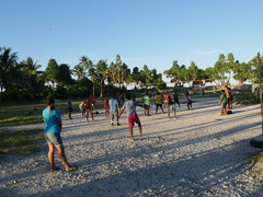 Evening volleyball match.