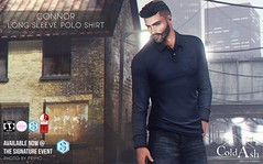 NEW! CONNOR LONG SLEEVE POLO @ THE SIGNATURE EVENT (coldashsl) Tags: sl menswear mens mesh clothing fashion male shop coldash cold ash tmd department project themeshproject slink physique signature gianni fittedmesh fitmesh polo shirt