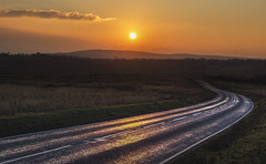 Road to Knowhere (Jon and Sian Bishop) Tags: winter january 2017 jonbishop canon eos 6d cold windy gower swansea south wales uk europe road landscape horizon horizontal leading reflection sun sunset dusk outdoor photography rolling hills clouds sky orange hue