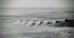 Overspill (hall1705) Tags: overspill d3200 westsussex water blackwhite mono longexposure sea seascape shore seaside breakwater felpham