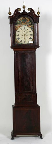 Mahogany Inlaid Grandfather Clock with Reeded 1/4 Columns ($840.00)