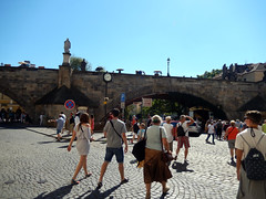 Na Kampě and Charles Bridge (Dunnock_D) Tags: czechia czechrepublic prague blue sky nakampě square crowds charlesbridge bridge karlůvmost malástrana lessertown
