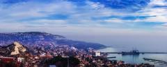 Beauty from Bulgaria - Balchik (ИвайлоВеликов) Tags: sky city sea water travel blue clouds architecture cityscape building ship panorama hill bulgaria balchik