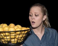 The Awesome Lemons (Oliver Leveritt) Tags: nikond610 afsnikkor2470mmf28ged oliverleverittphotography sb800 flash speedlight abetterbouncecard lemon lemons girl goofy funny comical thegeneralpublic restaurant citycentre houston texas portrait blackbackground