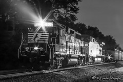 NS 5569   EMD GP38-2   NS Memphis District (M.J. Scanlon) Tags: night dark ns5569 sou2751 ns2751 ns sou norfolksouthern southernrailway up6705 up8253 unionpacific nighttime ge ac44cw emd gp38 gp382 cnw8803 cnw chicagonorthwestern unit engine locomotive signal light rail railroad railway train track power horsepower scanlon canon eos digital freight transportation merchandise commerce business wow haul outdoor outdoors move mover moving southern rebel memphis longexposure