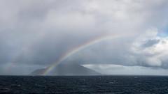 Double Rainbow at Saba Island (Ed Rosack) Tags: haze cruise britishvirginislands rainbow storm mskoningsdam mist island sky ©edrosack hills water ocean fog sabaisland