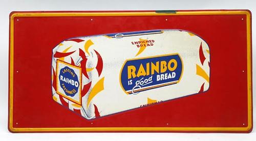 Tin lithograph Rainbo Bread Sign ($224.00)